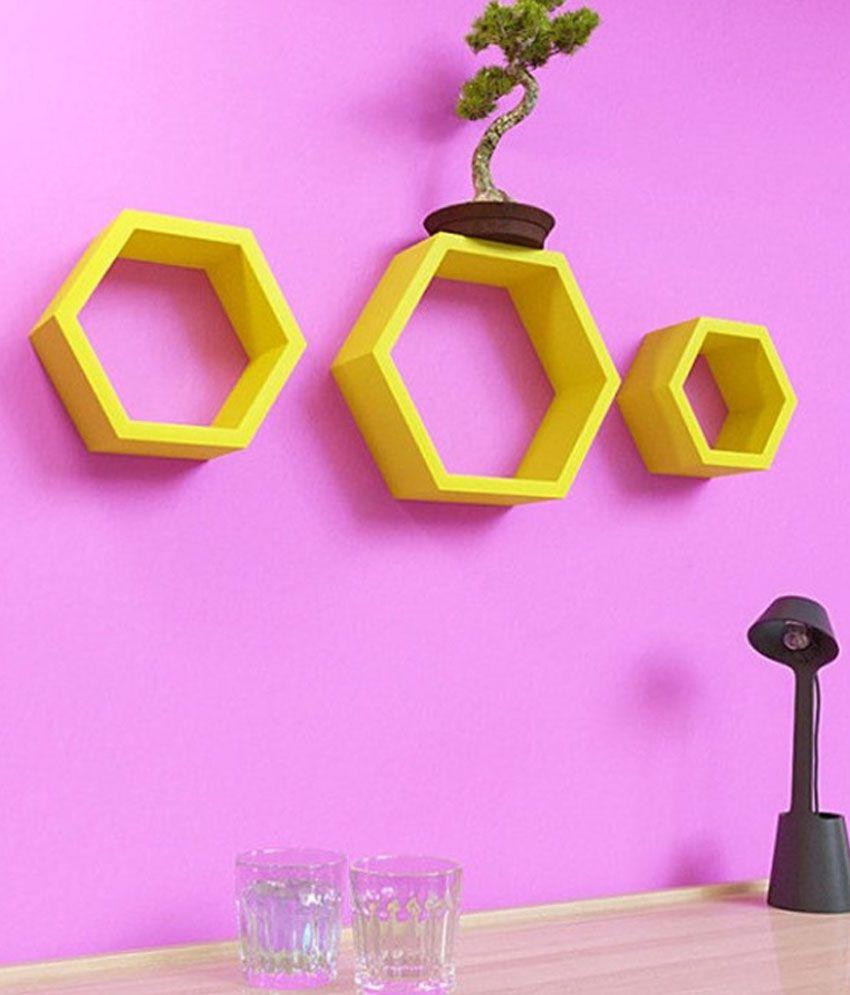 Onlineshoppee Floating Shelf/ Wall Shelf / Storage Shelf/ Decoration Shelf Yellow - Pack of 3
