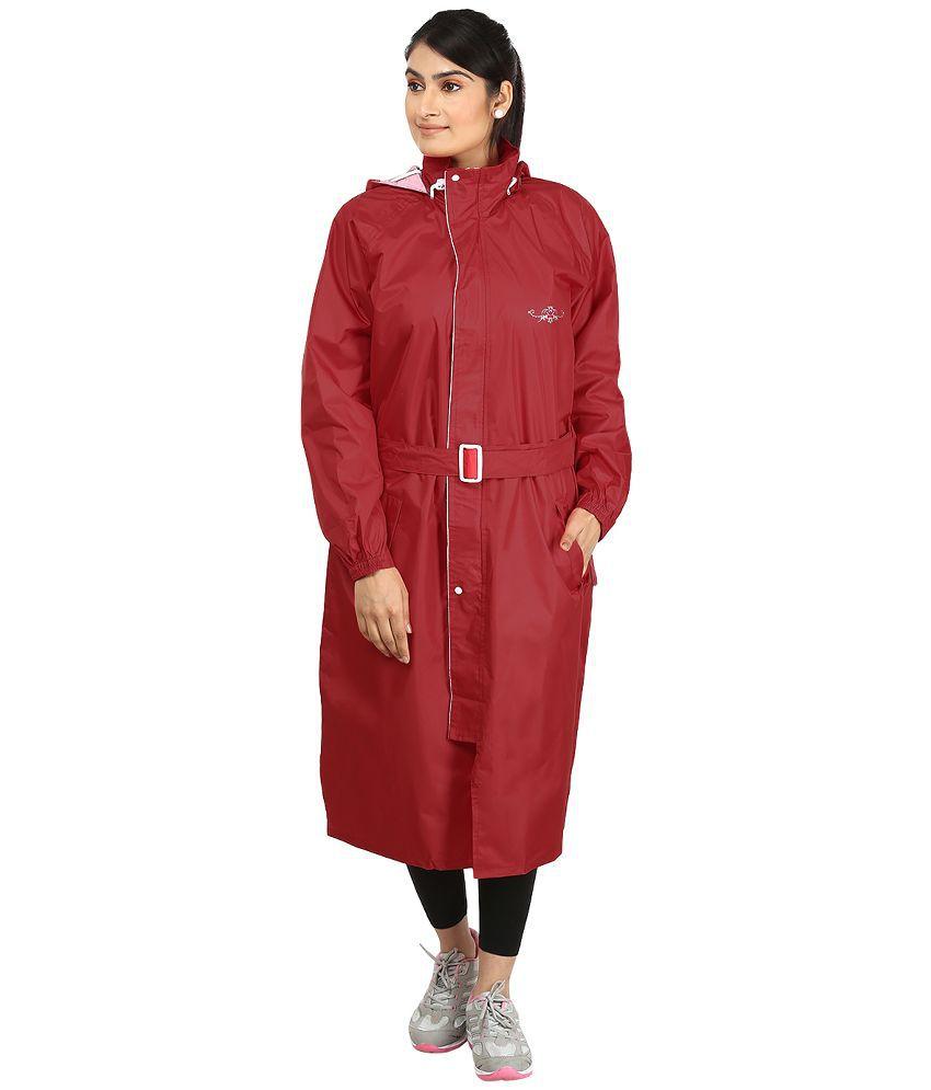 Rainfun Red Solid Women's Raincoat