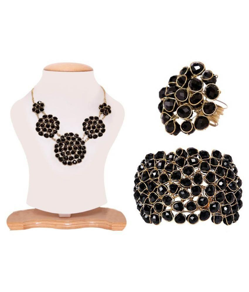 Renaissance Traders Alloy Gold Plating Crystal Studded Black Coloured Necklace set Combo