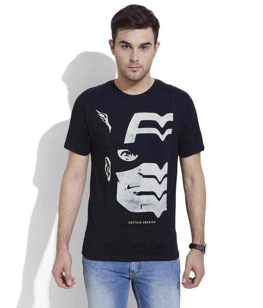 Slub Black Round T Shirt