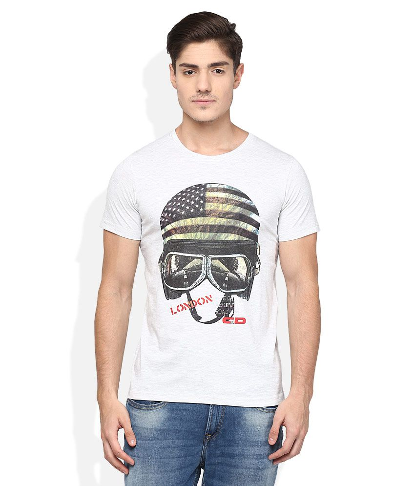 Cloak & Decker By Monte Carlo Grey Printed T-Shirt