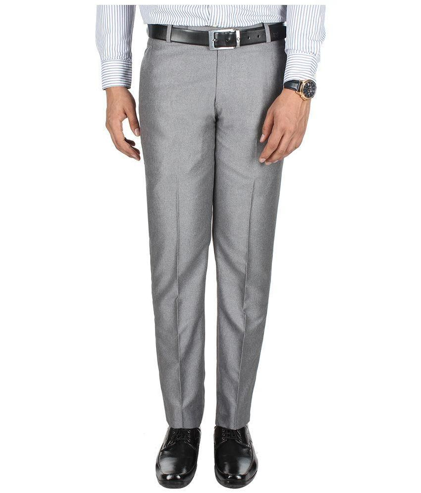 GALLOWAY Silver Regular Fit Flat Trousers SINGLE