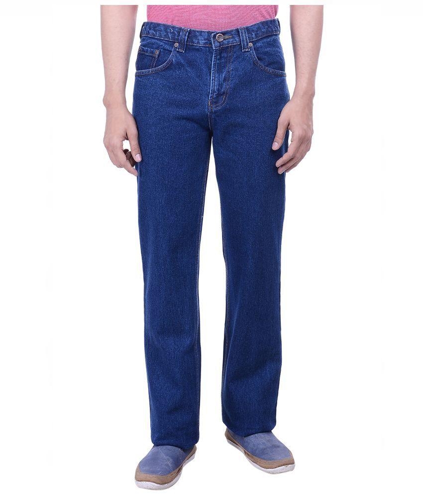 Hoffmen Blue Regular Fit Solid Jeans