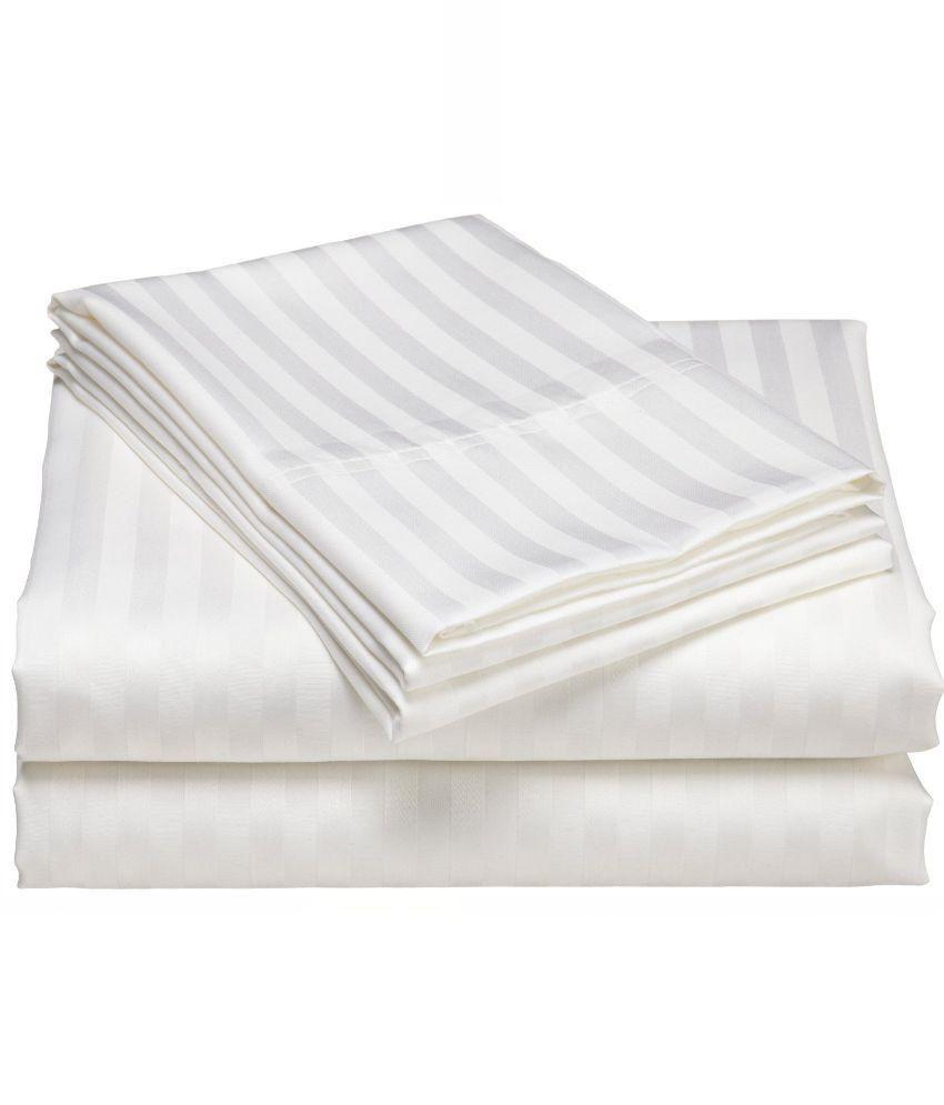 White cotton bed sheets - Linenwalas Double Cotton White Stripes Bed Sheet