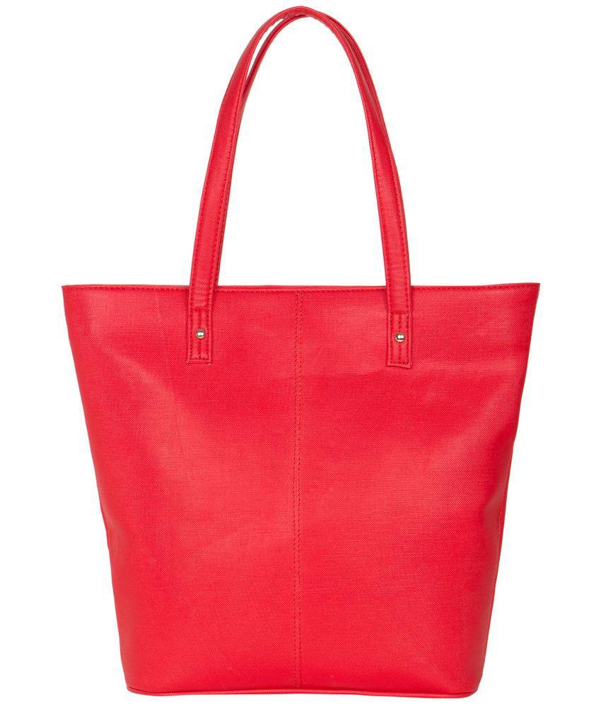 Ekora Red P.U. Tote Bag