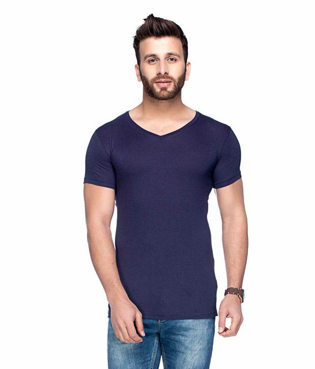 Tinted Navy V-Neck T Shirt Single