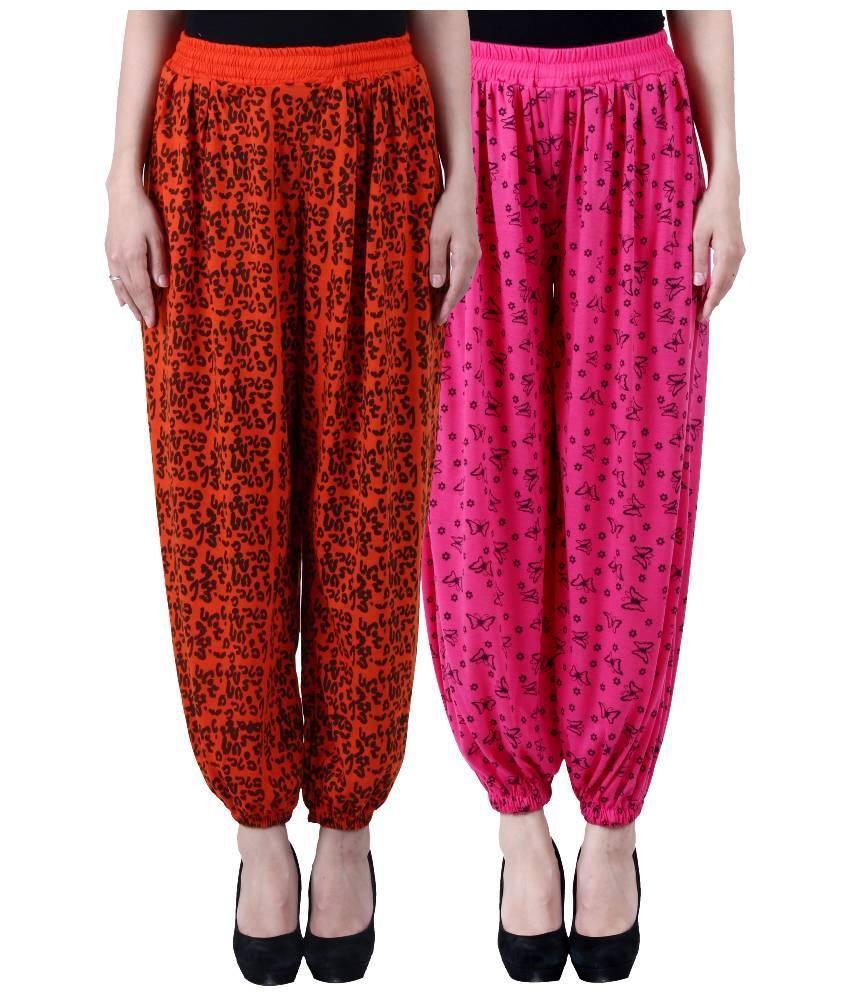 Numbrave Multicoloured Viscose Harem Pants