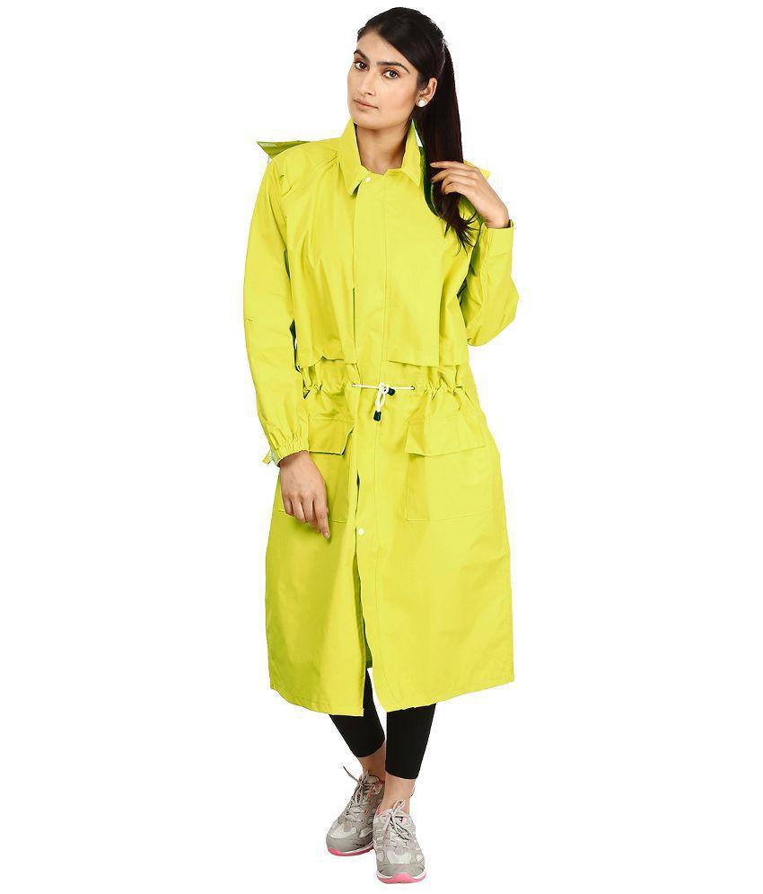 Rainfun Green Polyester Long Raincoat