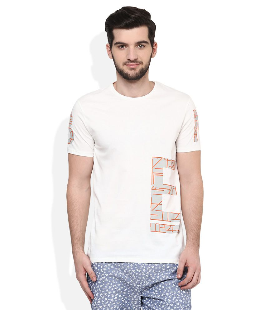 United Colors Of Benetton Off White Round Neck T Shirt