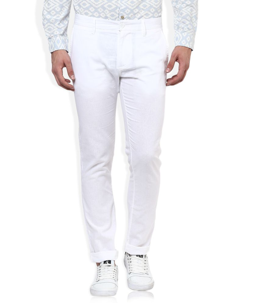 United Colors Of Benetton White Slim Fit Trousers