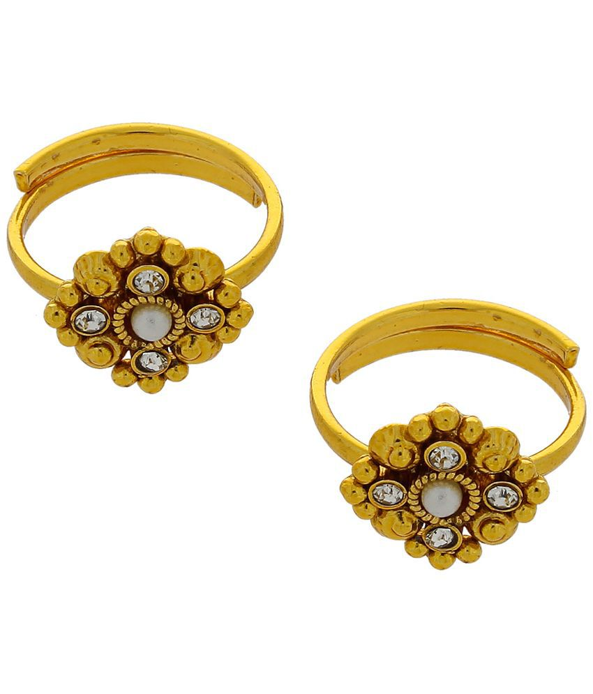 Anuradha Art Alloy Gold Plating Cubiz Zirconia Studded Gold Coloured Pair of Toe-rings