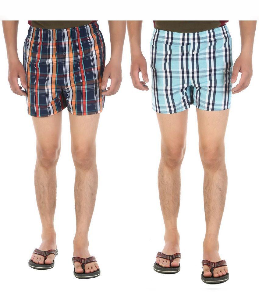 Ewan Multi Shorts Pack of - 2 Chekered Boxers