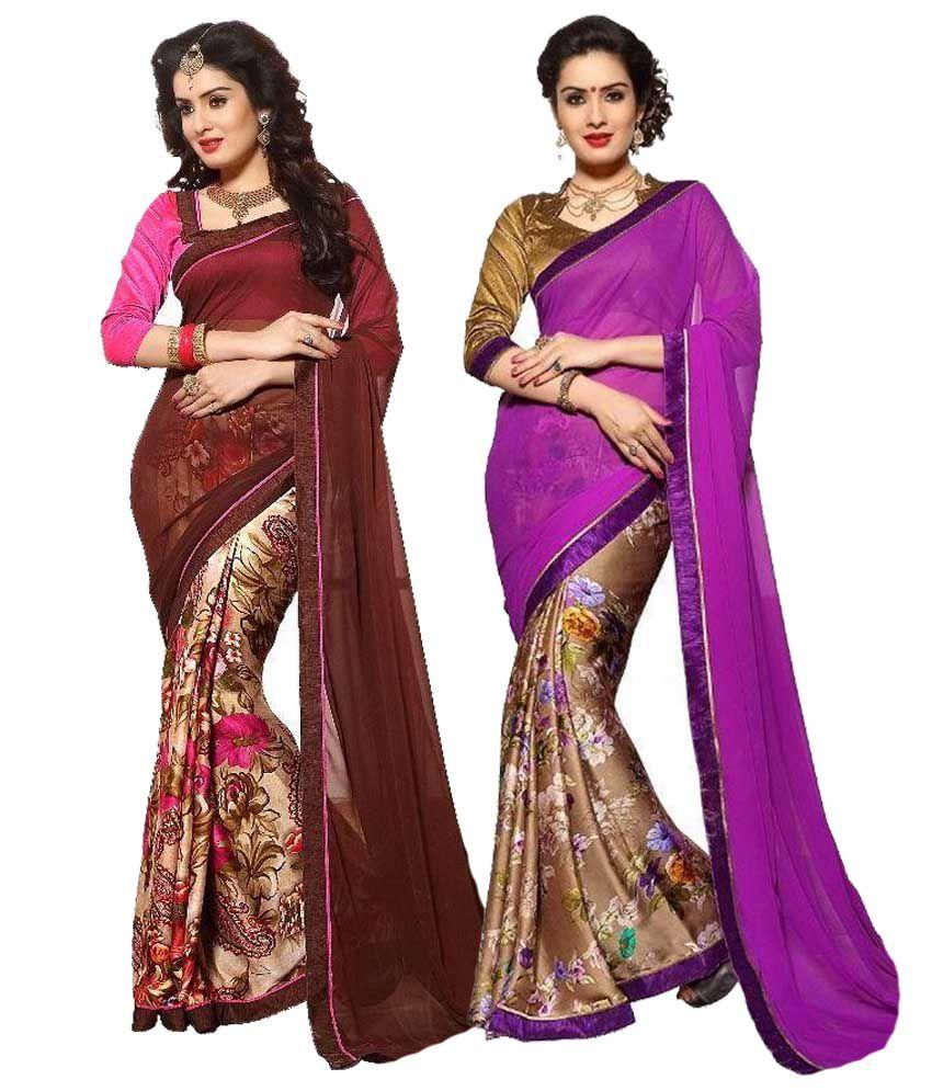 Sandhya's Multicoloured Georgette Saree Combos