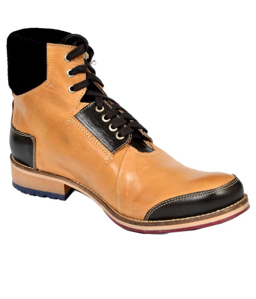 Stylecentrum Tan Leather Party Boots