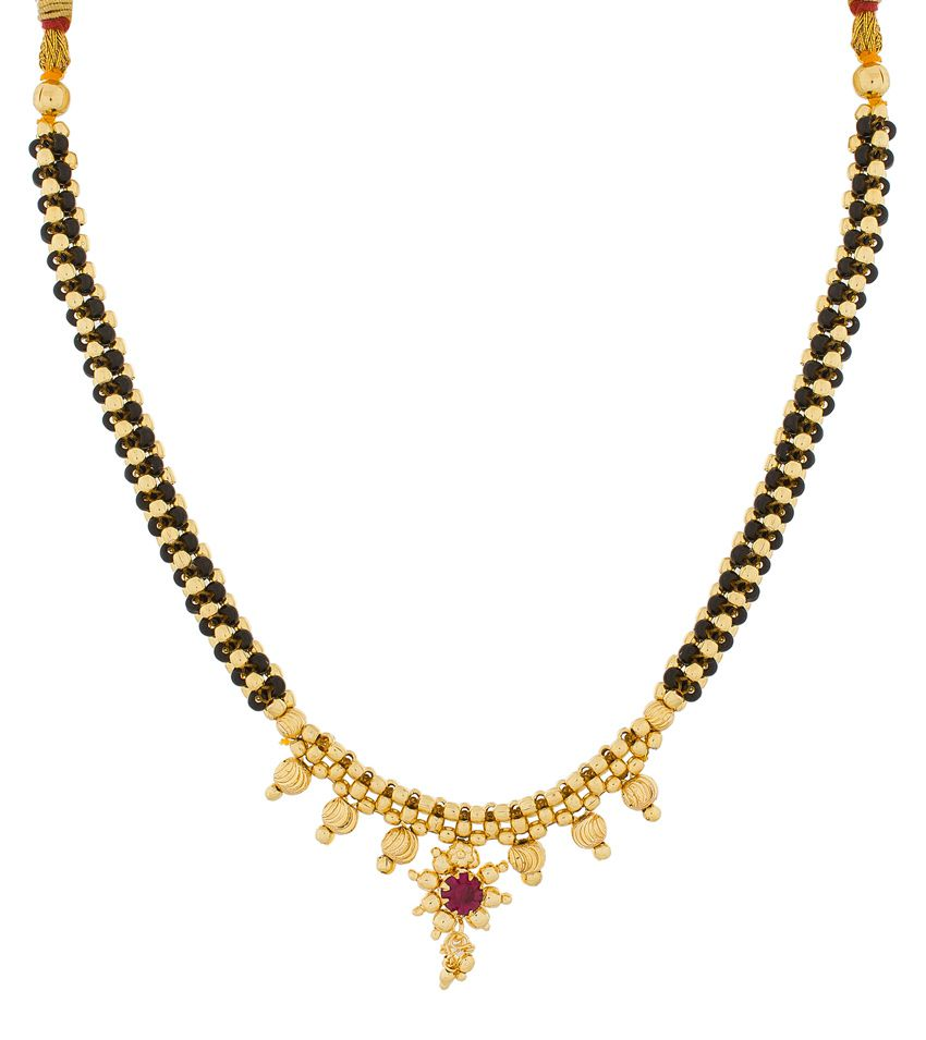 The Luxor Alloy Gold Plating Beads Studded Black Coloured Necklace