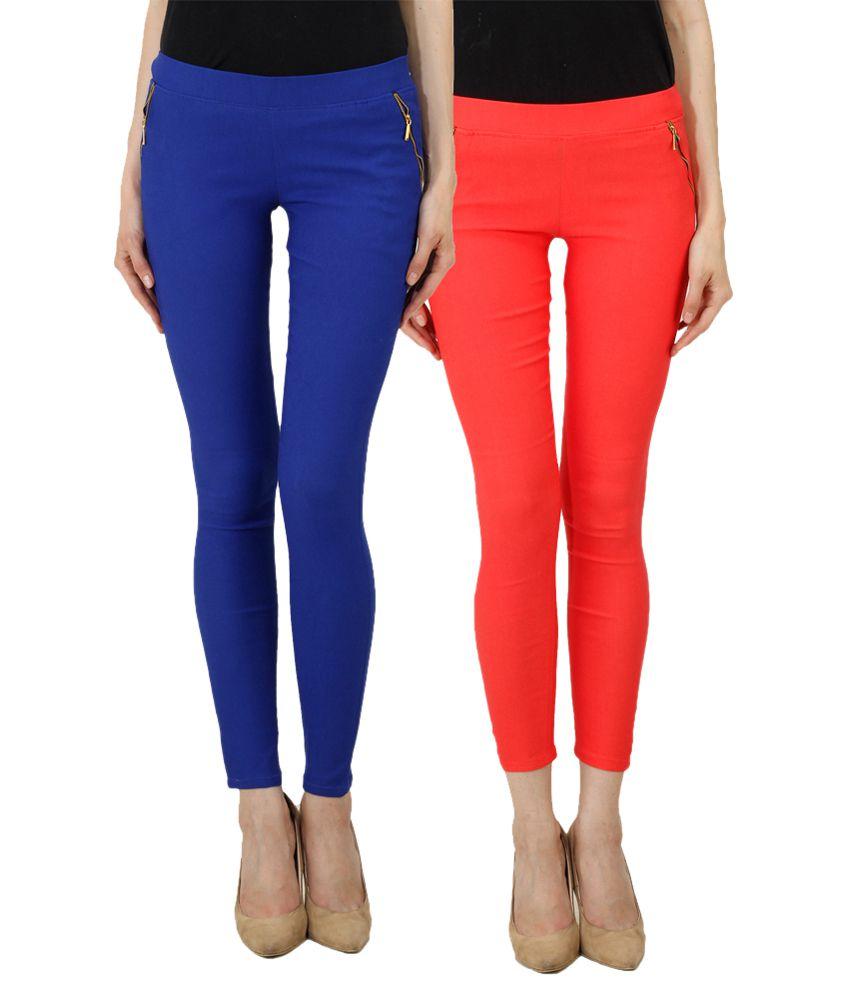 Ansh Fashion Wear Multi Color Cotton Lycra Jeggings - Pack ...