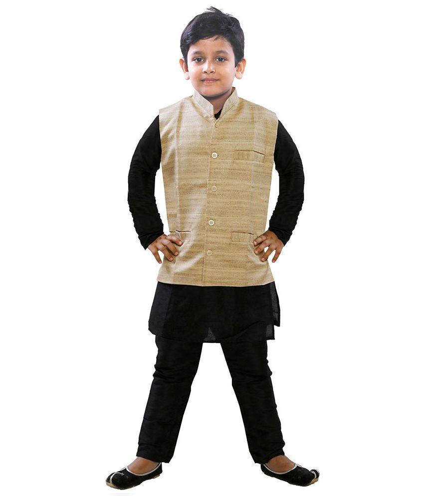 JBN Creation Boys Black Cotton Silk Kurta Pyjama with Matka Jacket