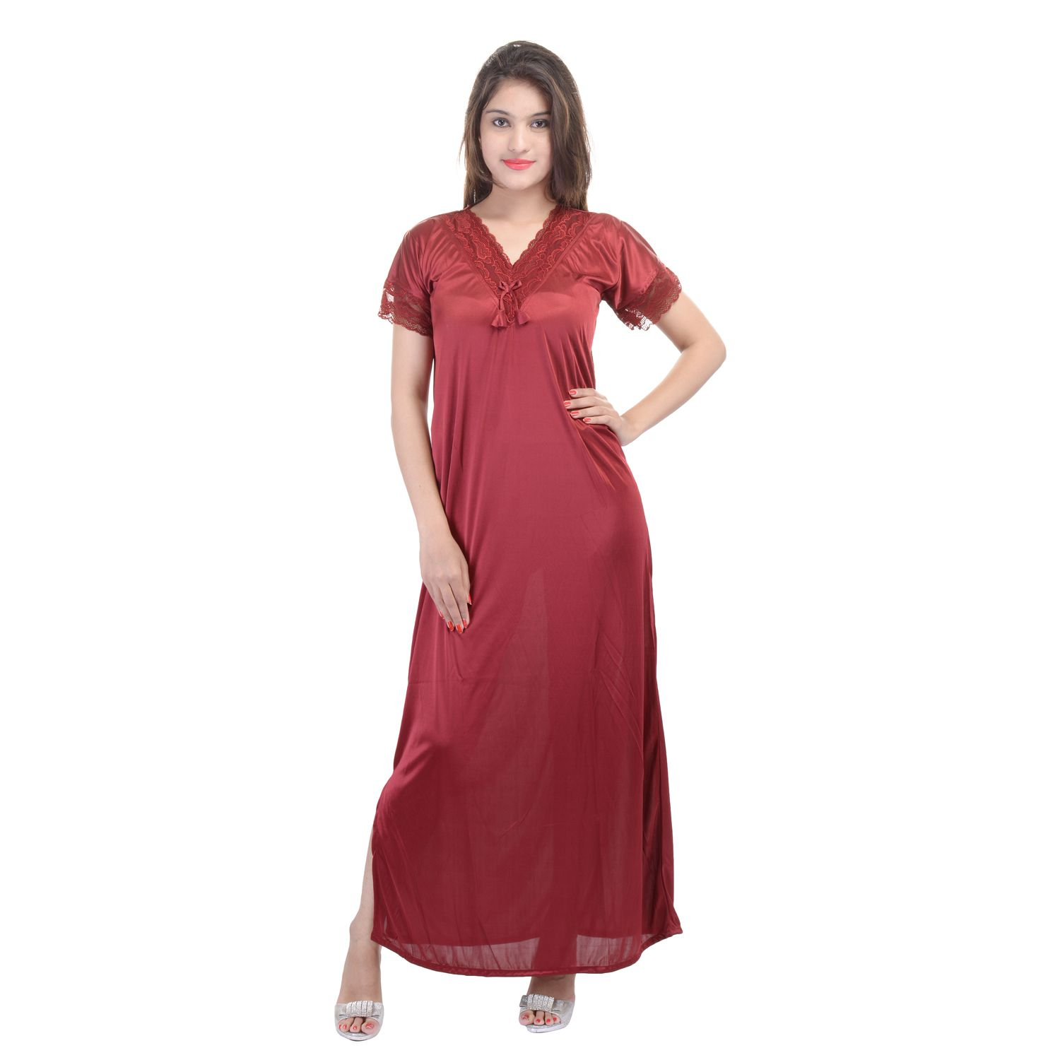 Buy Rajasthani Sarees Maroon Satin Nighty   Night Gowns Online at Best  Prices in India - Snapdeal 1418e93cc