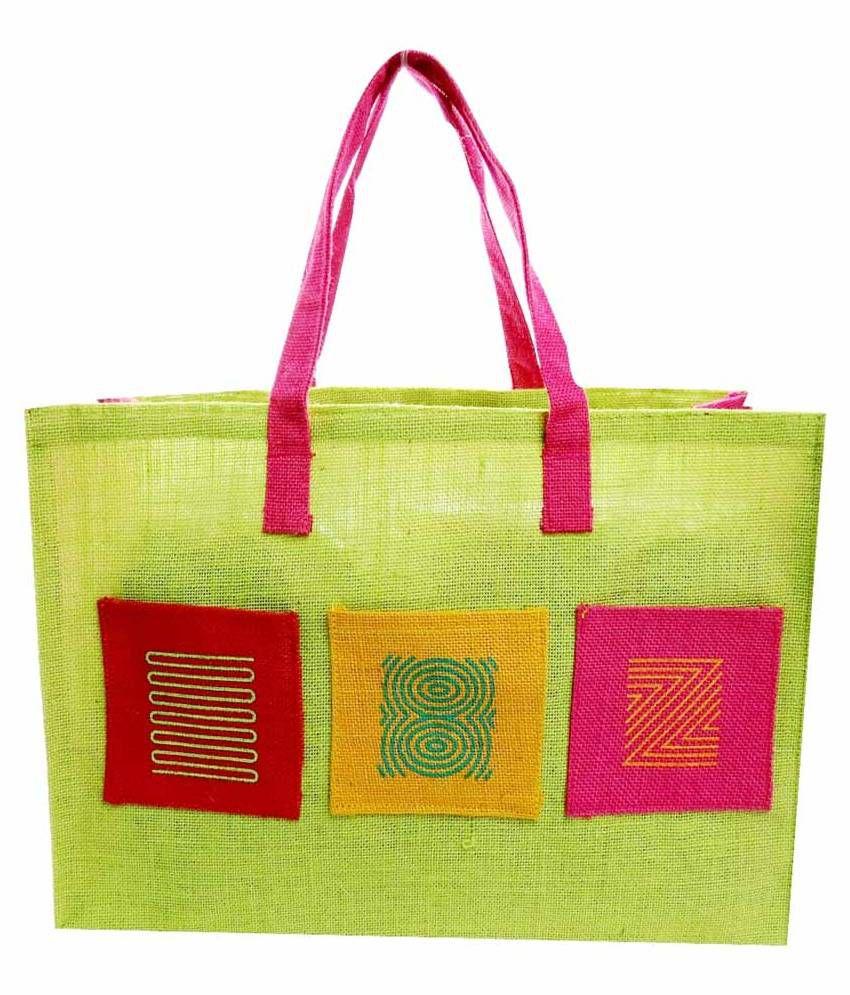 Neska Moda Green Jute Tote Bag