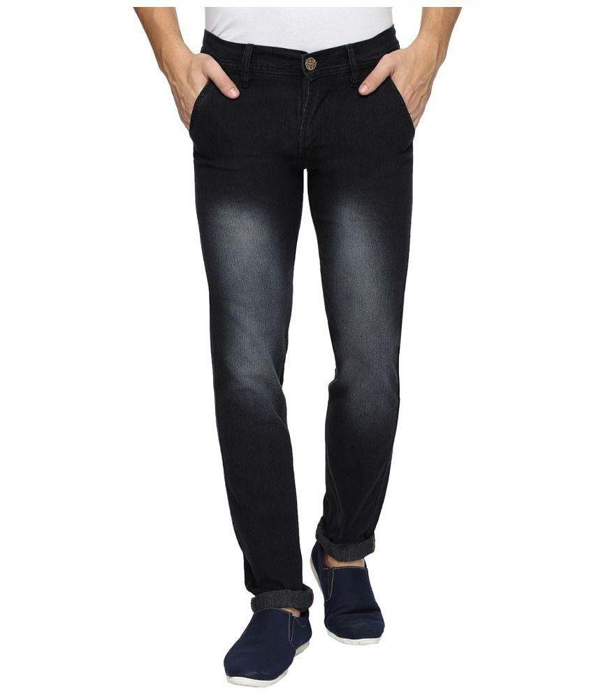 Wajbee Black Slim Fit Faded Jeans