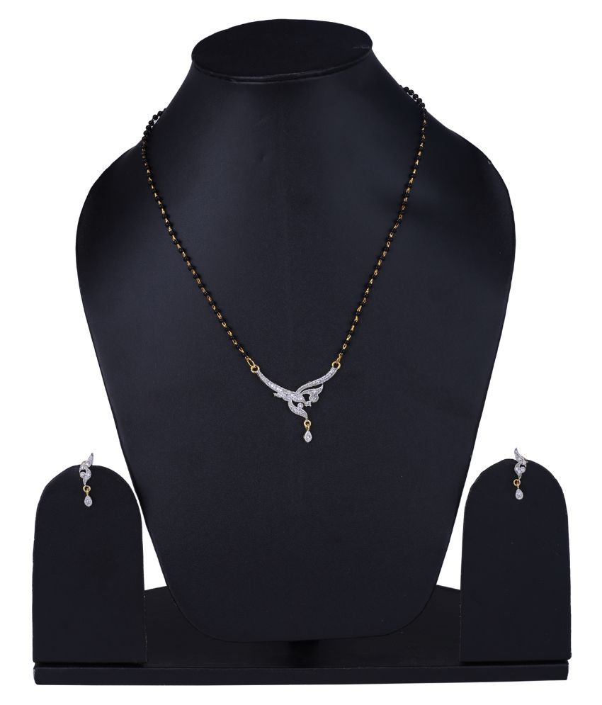 Foxy Trend Alloy Rhodium Plating American diamonds Studded Black Coloured Mangalsutra Set