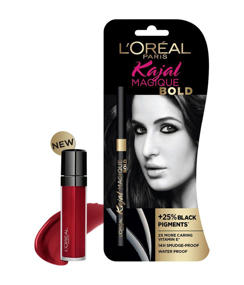 L'Oreal Paris Infallible Mega Lip Gloss (ALERTE ROUGE #106) & Magique Bold  Kajal Free
