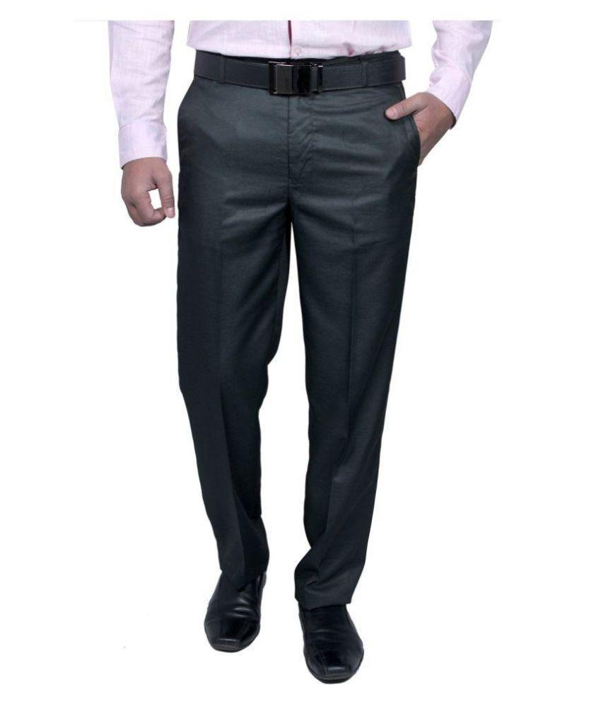Rich Blue Black Regular Fit Flat Trousers