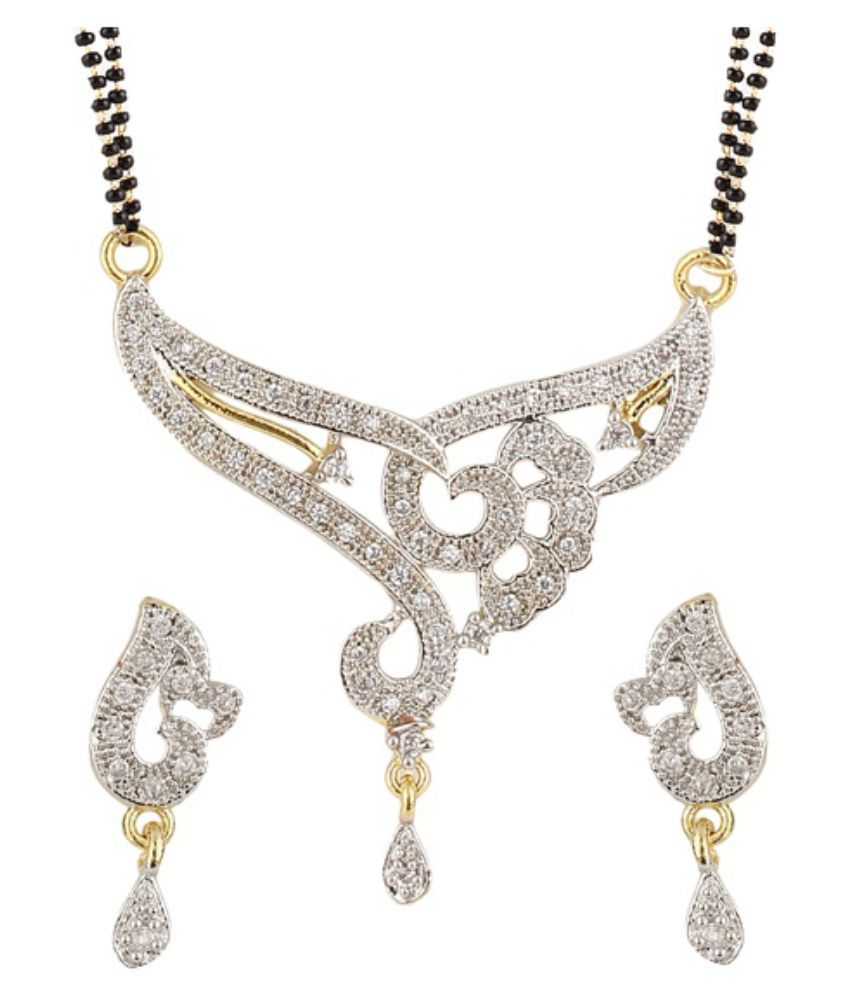 Youbella Alloy Gold Plating American diamonds Studded Silver Coloured Mangalsutra Set