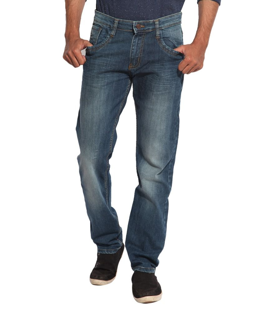 Inego Blue Slim Fit Faded Jeans