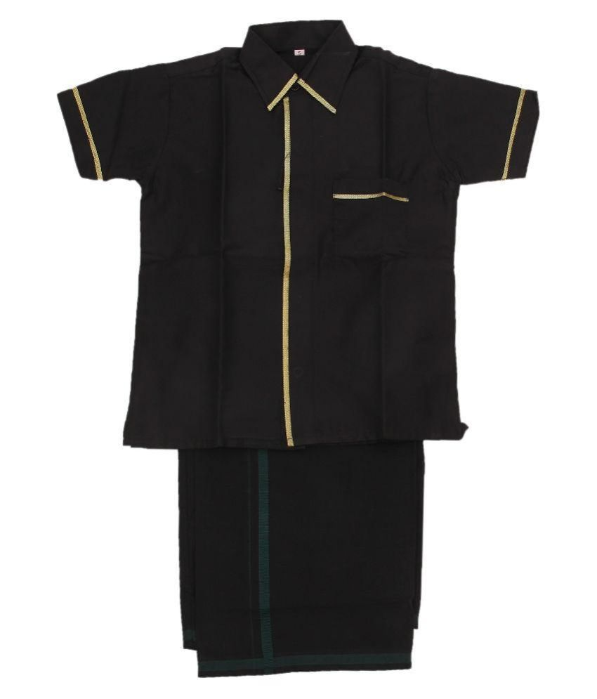 Kites Black Cotton Shirt and Dhoti