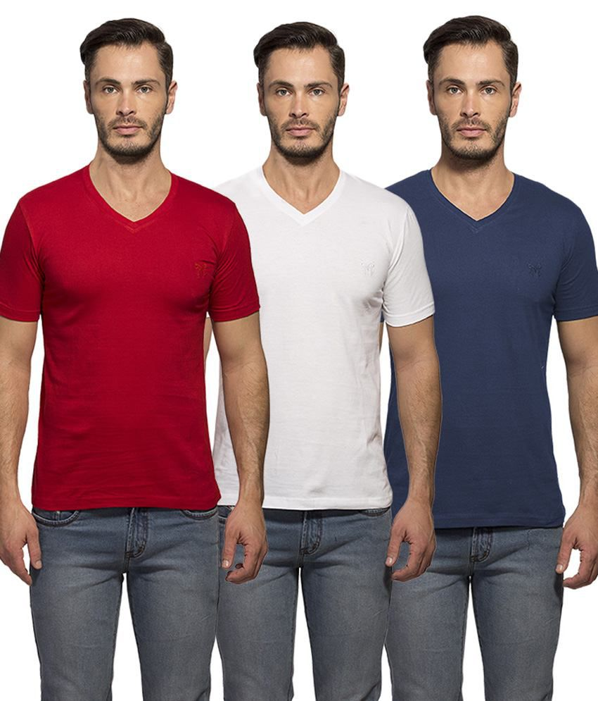 Maniac Multi V-Neck T Shirt Pack Of 3