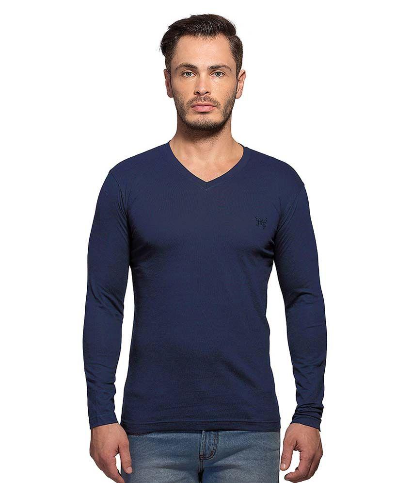 Maniac Navy V-Neck T Shirt