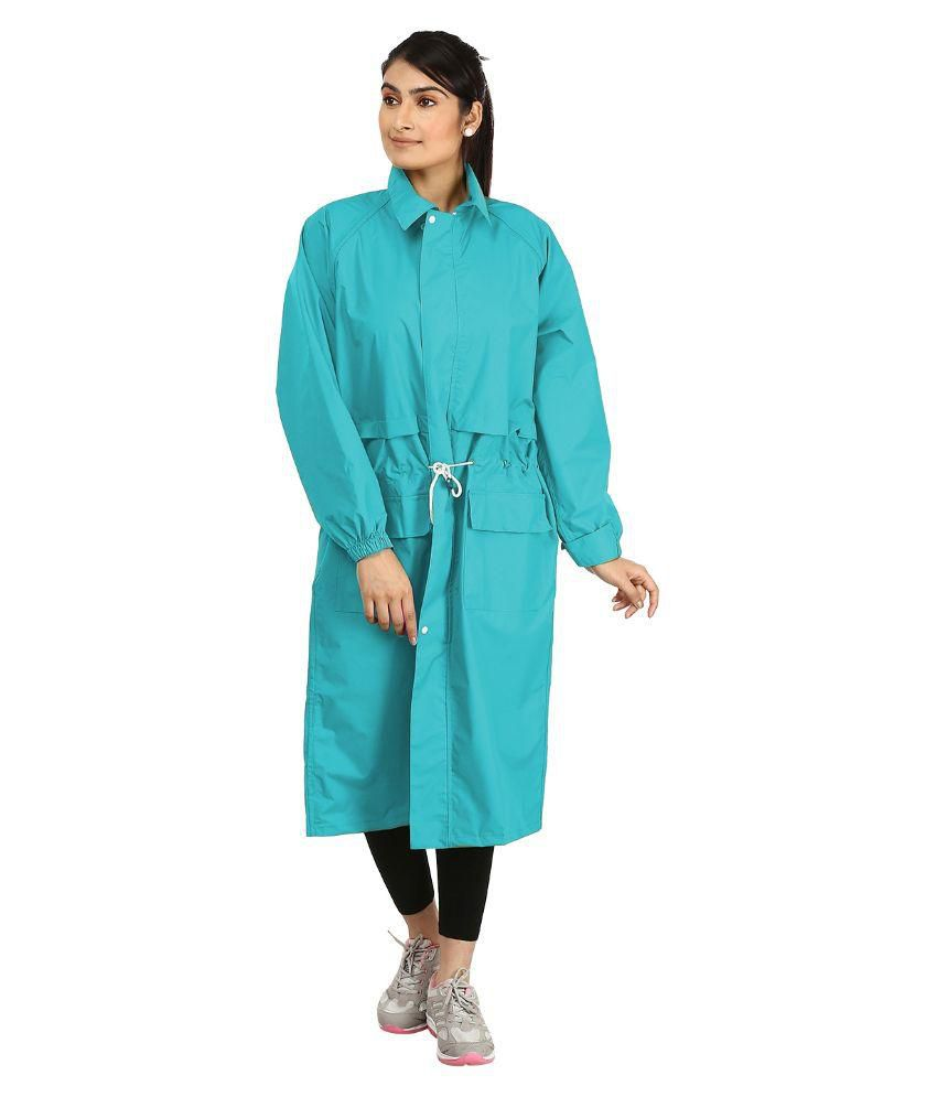 Rainfun Blue Nylon Long Raincoat