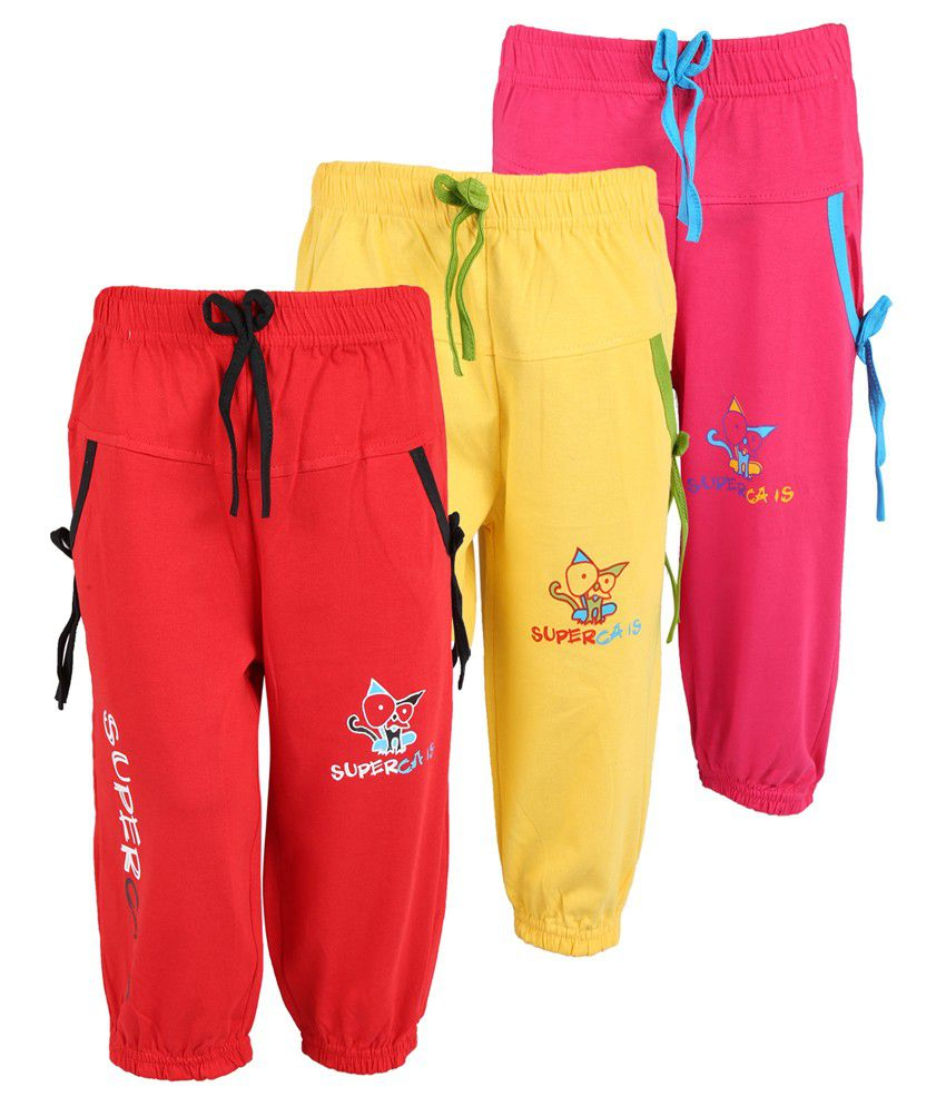 Weecare Multicolor Capris For Girls - Pack Of 3