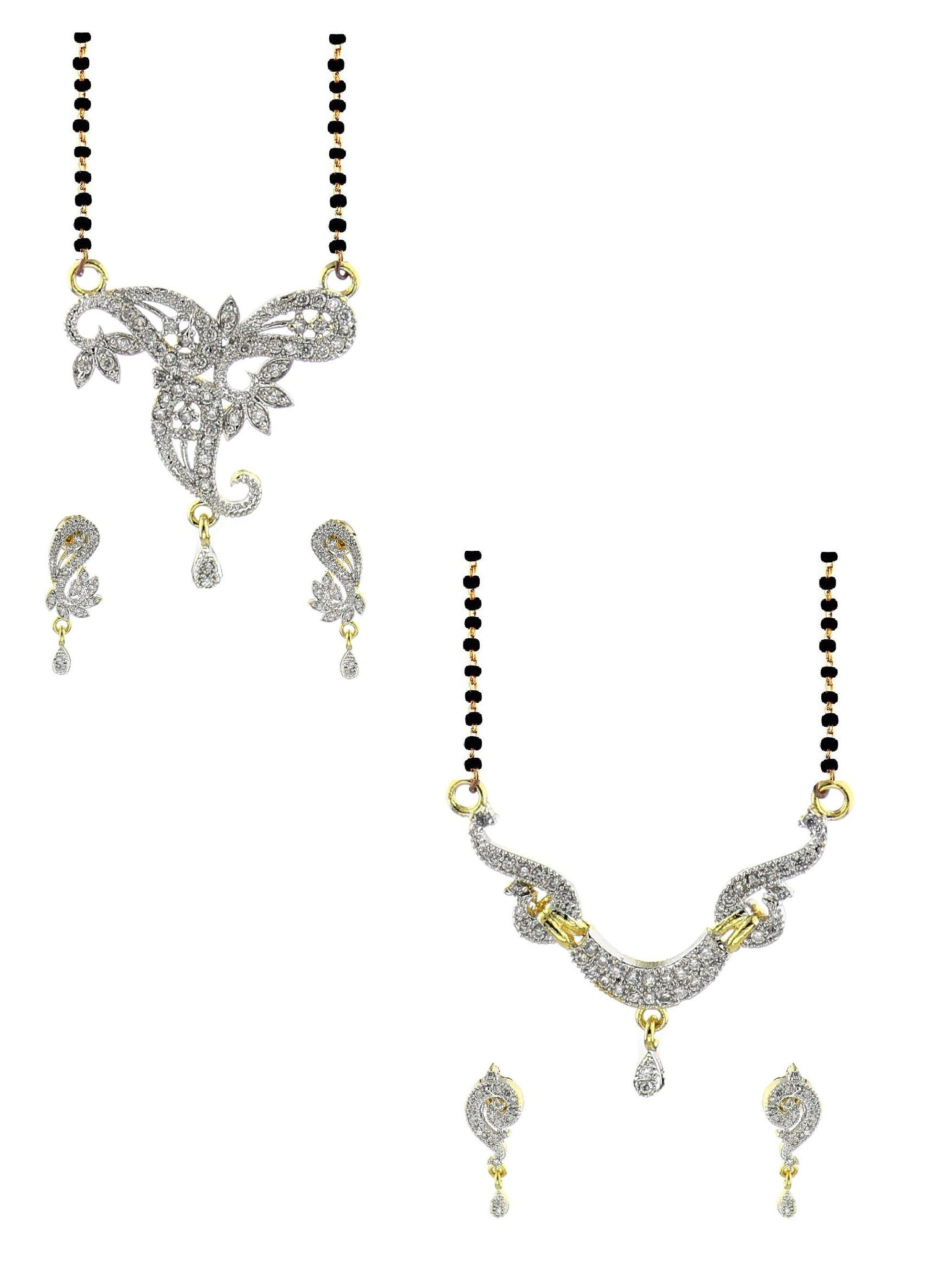 YouBella Alloy Gold Plating American Diamonds Studded Silver Coloured Mangalsutra Combo