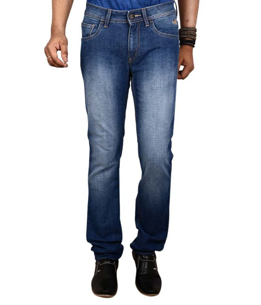 Flying Machine Blue Slim Fit Faded Jeans