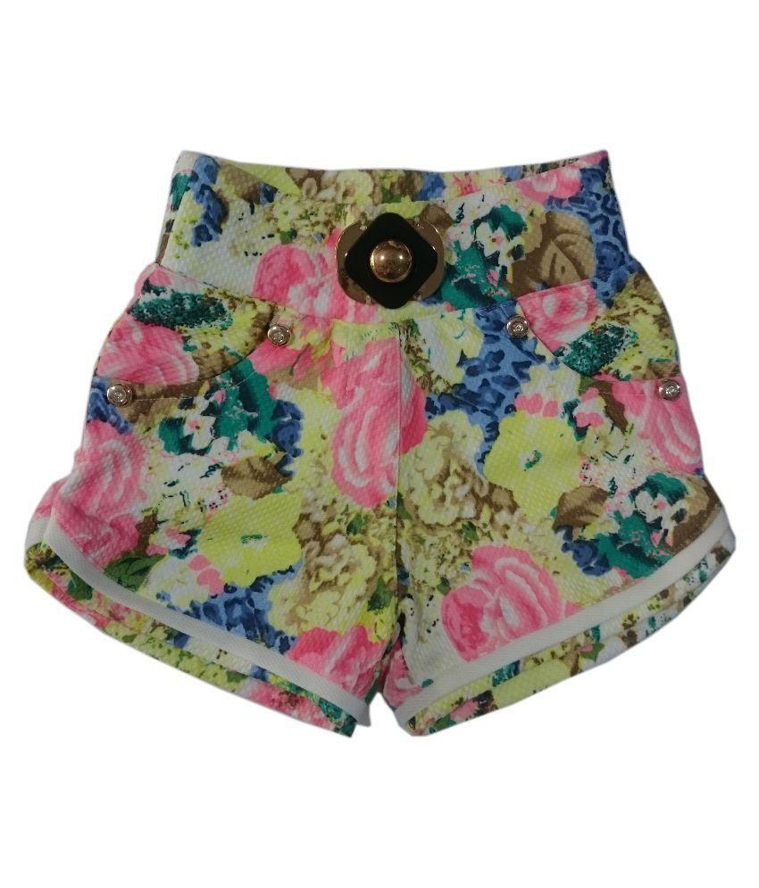 Pink&white Multicolor Chiffon Short