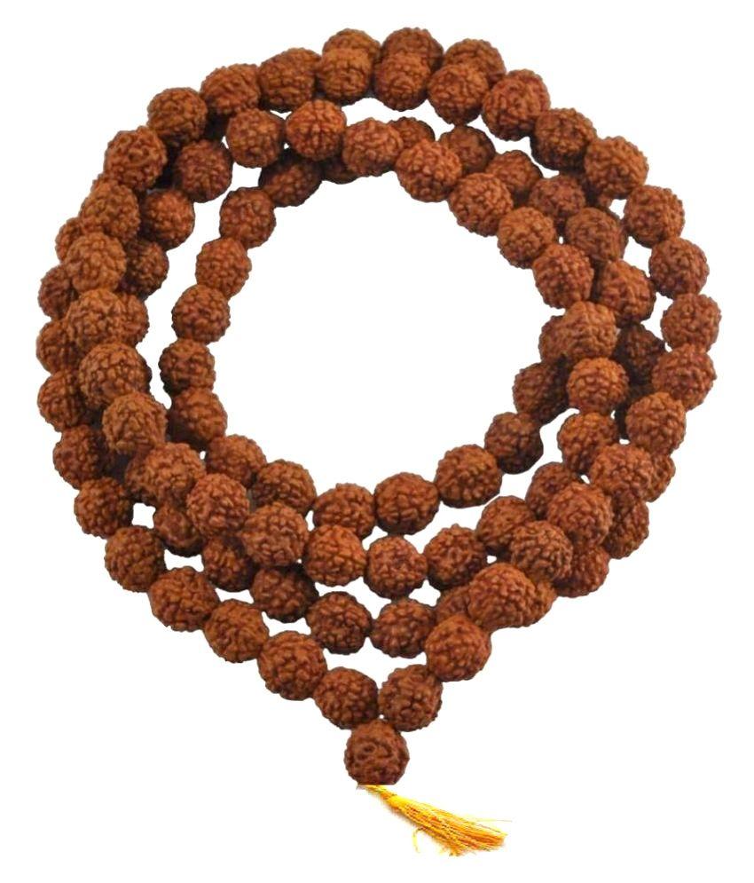 Spiritual items Brown Wood Natural 5 Mukhi Rudraksha mala Lab-Certified  beads 7