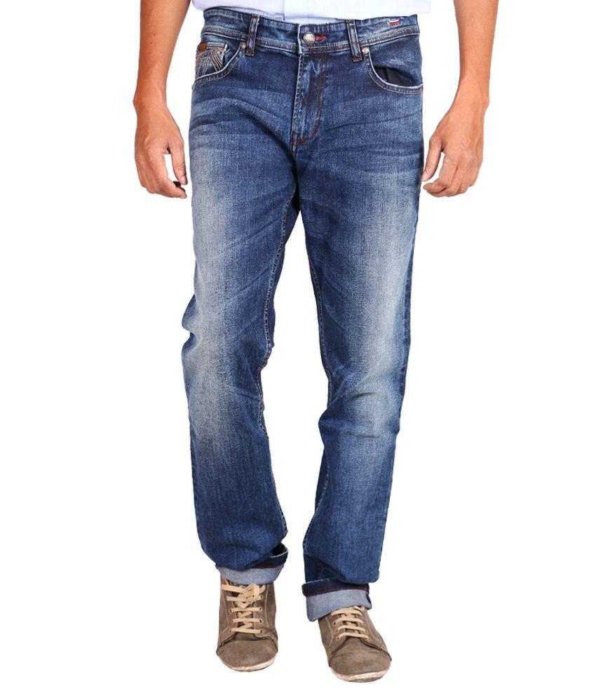 Lee Cooper Blue Regular Fit Faded Jeans