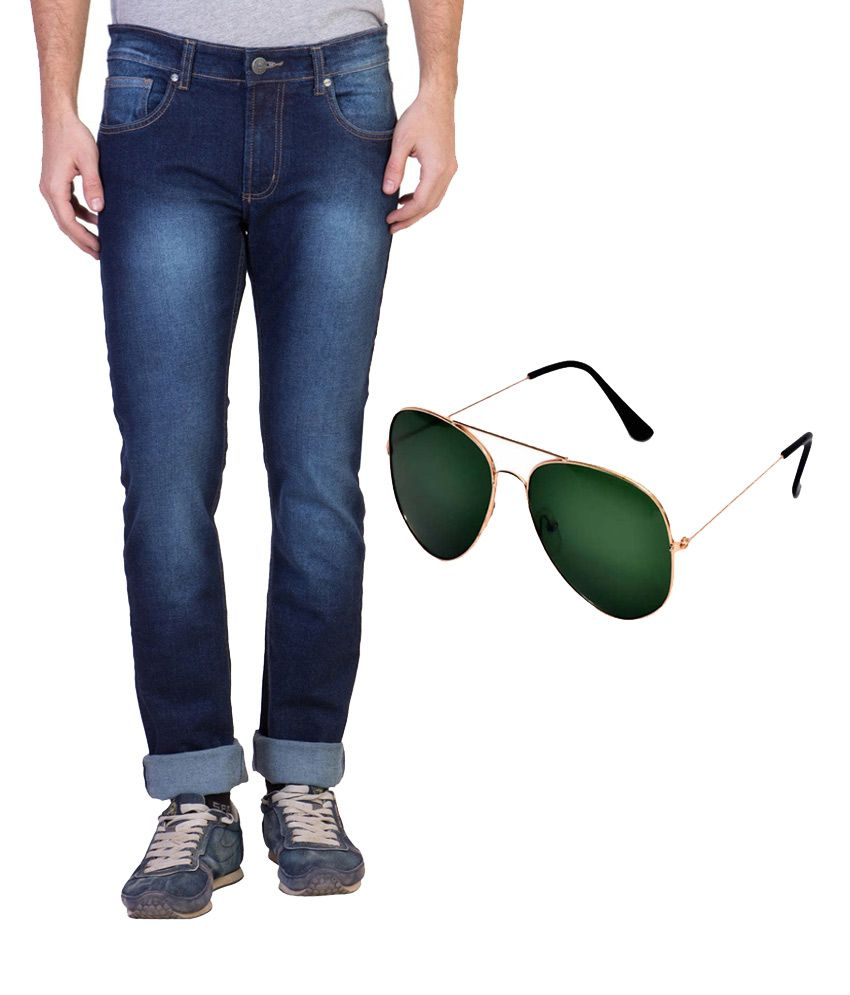 Ruf And Tuf Blue Slim Fit Washed Jeans 1 Jeans with Sunglasses
