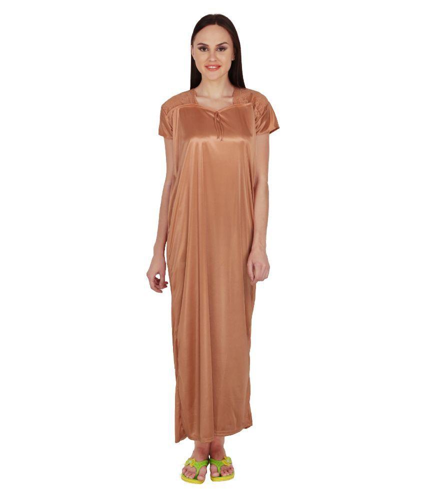 Simrit Brown Satin Nighty & Night Gowns
