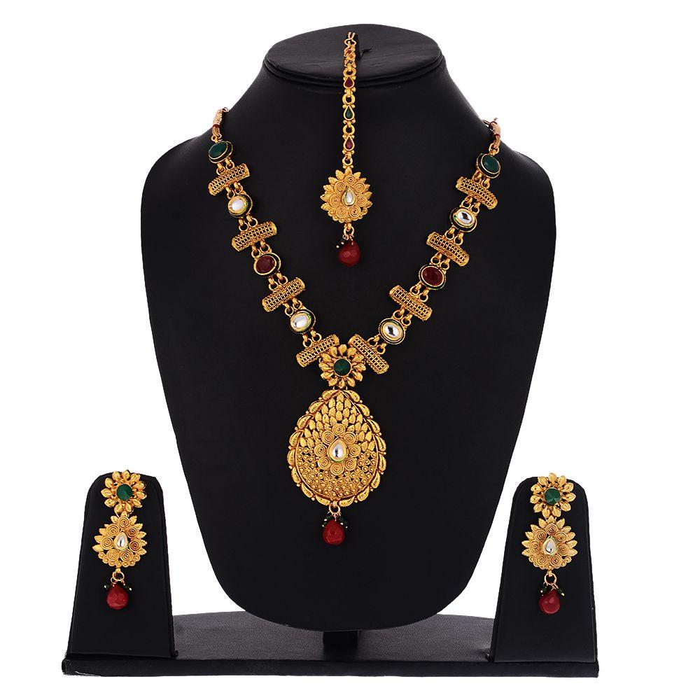 Sitashi Alloy Studded Gold Coloured Necklaces Set