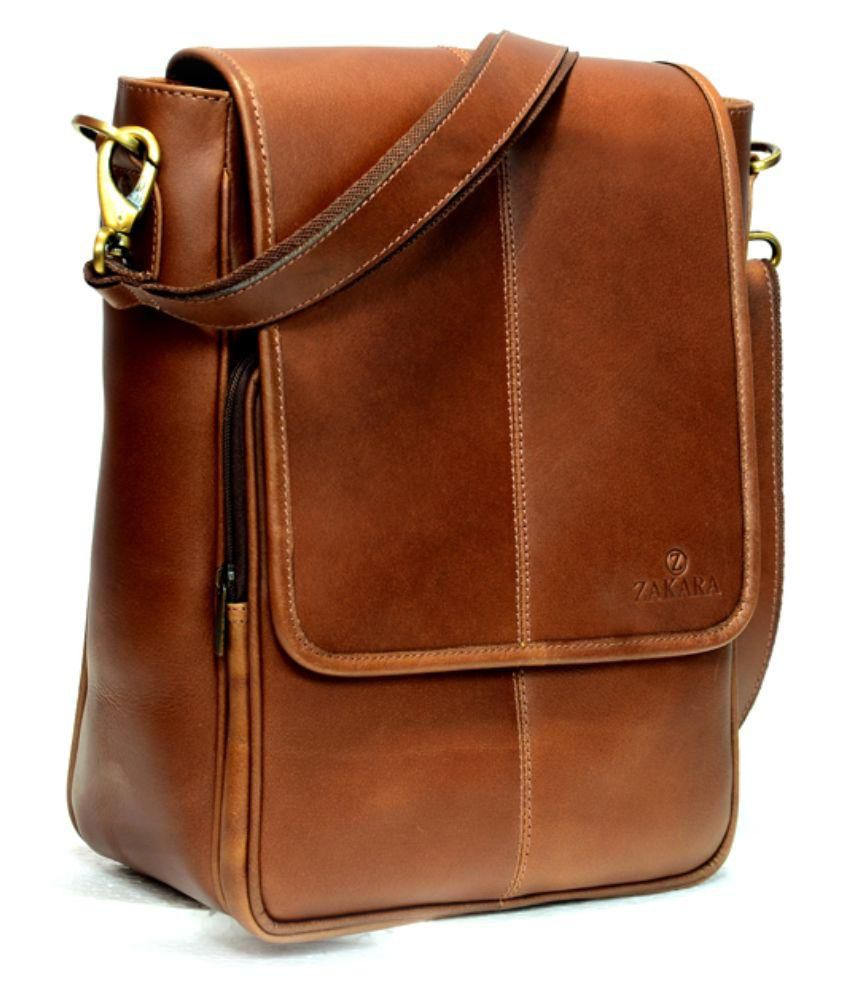 Zakara Brown Leather Messenger Bag