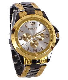 Rosra Black and Golden Metal Analog Wrist Watch for Men