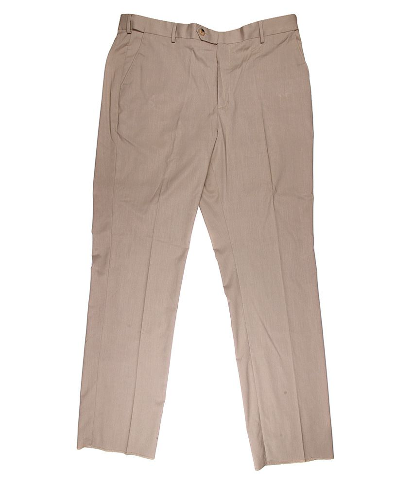 Alto Moda By Pantaloons Khaki Slim Fit Trousers
