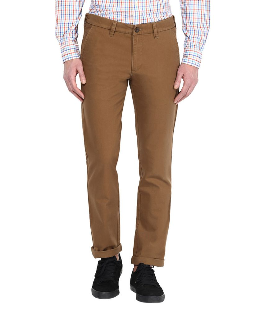 Byford By Pantaloons Khaki Slim Fit Trousers