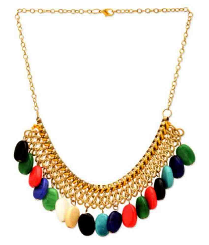 Fedexo Bone Studded Multi Coloured Necklace