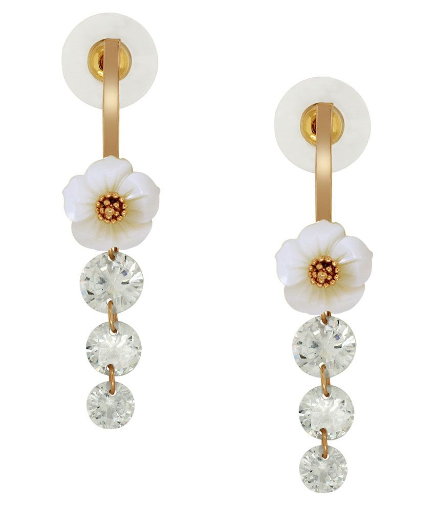 Spargz Alloy Gold Plating Stones Studded White Coloured Earrings