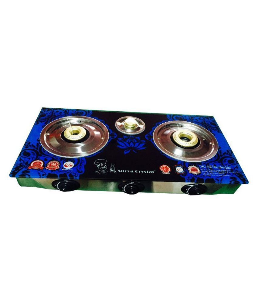 Surya Crystal Automatic Gas Cooktop (3 Burner)