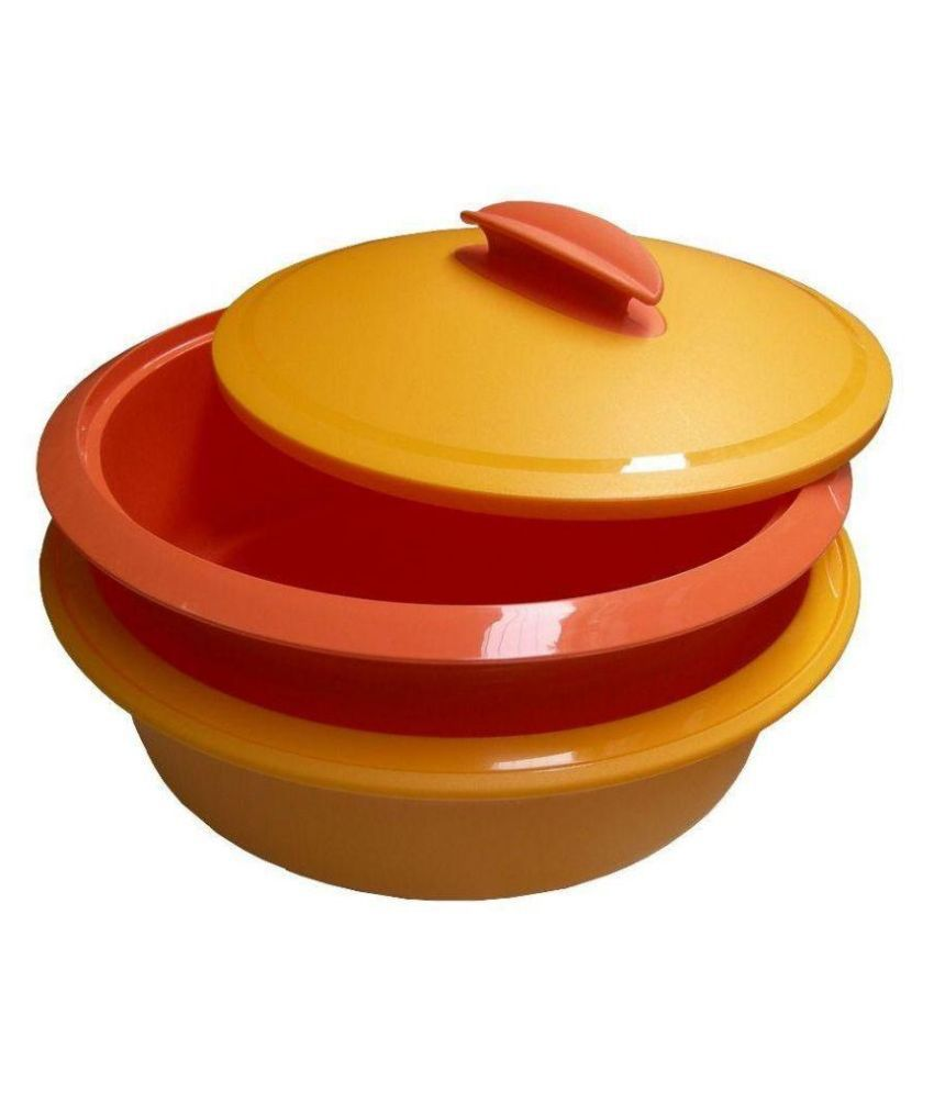 Tupperware Yellow and Orange Iso Duo Microwave Safe Casserole